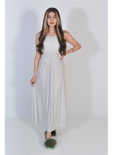 Zeren Kadın Beyaz Çizgi Desenli Elbise Beyaz